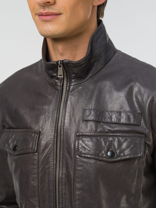 Кожаная куртка артикул 14809992/48 - фото 3