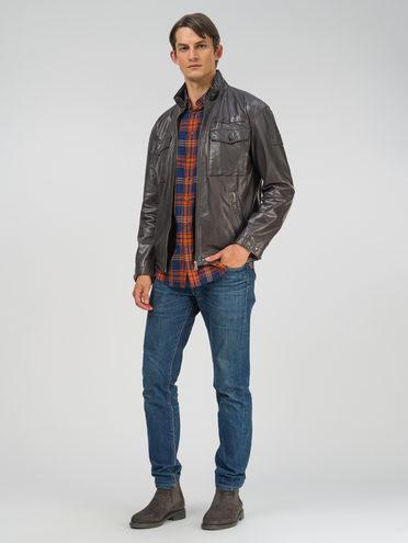 Кожаная куртка кожа, цвет серый, арт. 14809992  - цена 19990 руб.  - магазин TOTOGROUP
