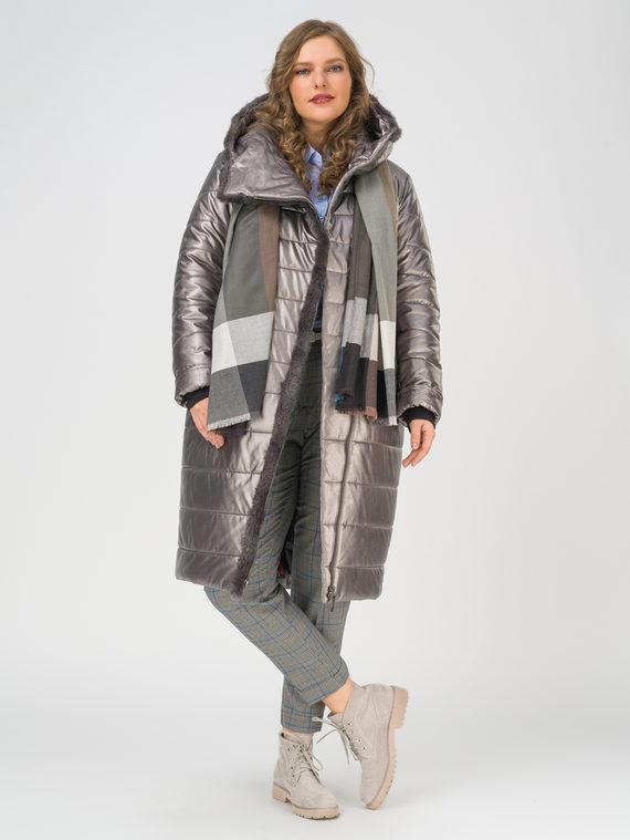 Кожаное пальто эко-кожа 100% П/А, цвет серый, арт. 14810866  - цена 10590 руб.  - магазин TOTOGROUP
