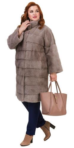 Шуба из норки мех норка крашеная, цвет серый, арт. 14900855  - цена 139990 руб.  - магазин TOTOGROUP