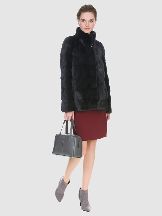 Шуба из норки мех норка, цвет темно-серый, арт. 14901075  - цена 59990 руб.  - магазин TOTOGROUP