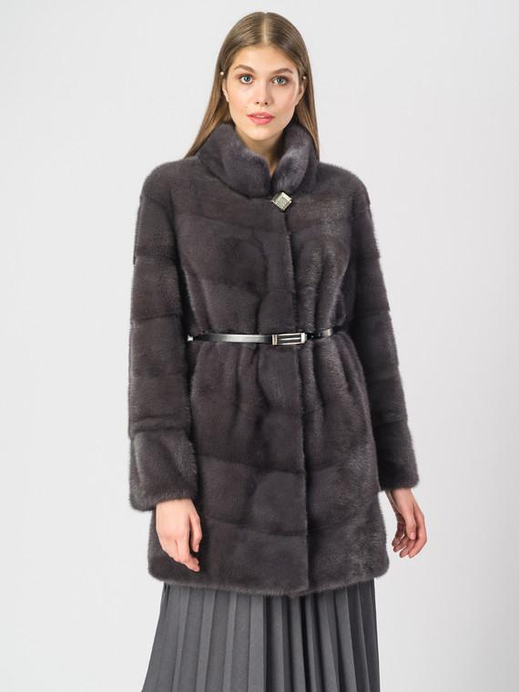 Шуба из норки мех норка, цвет темно-серый, арт. 14901098  - цена 105990 руб.  - магазин TOTOGROUP