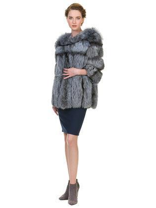 Шуба из чернобурки мех чернобурка, цвет серый, арт. 14901127  - цена 49990 руб.  - магазин TOTOGROUP