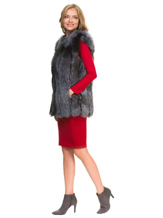 Меховой жилет мех чернобурка, цвет серый, арт. 14901137  - цена 12690 руб.  - магазин TOTOGROUP