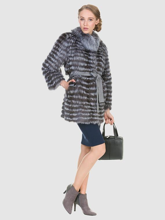 Шуба из чернобурки мех чернобурка, цвет серый, арт. 14902895  - цена 26990 руб.  - магазин TOTOGROUP