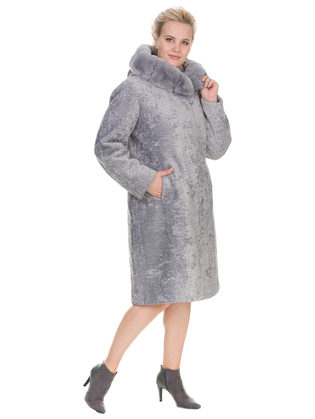 Шуба из эко-меха эко мех, цвет светло-серый, арт. 14903223  - цена 15990 руб.  - магазин TOTOGROUP