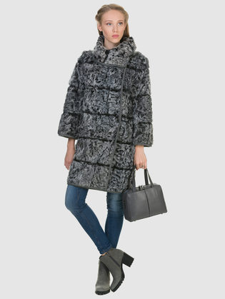 Шуба из козы мех коза, цвет серый, арт. 14903263  - цена 49990 руб.  - магазин TOTOGROUP
