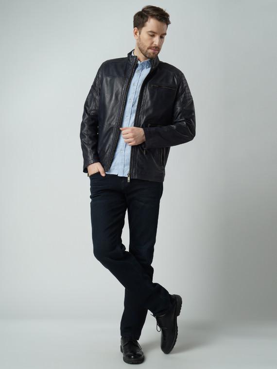 Кожаная куртка кожа , цвет темно-синий, арт. 15003420  - цена 15990 руб.  - магазин TOTOGROUP