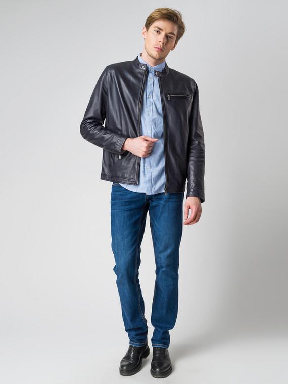 Кожаная куртка кожа , цвет темно-синий, арт. 15003424  - цена 13390 руб.  - магазин TOTOGROUP