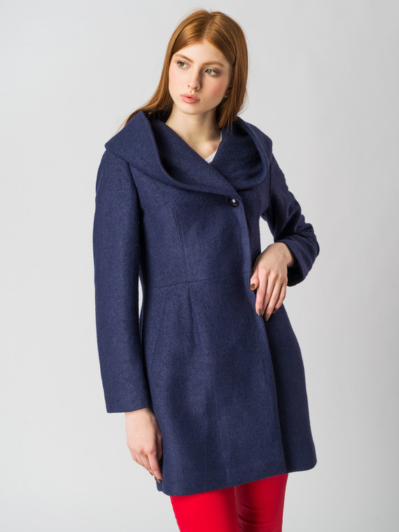 Текстильное пальто 30%шерсть, 70% п.э, цвет синий, арт. 15005651  - цена 4740 руб.  - магазин TOTOGROUP