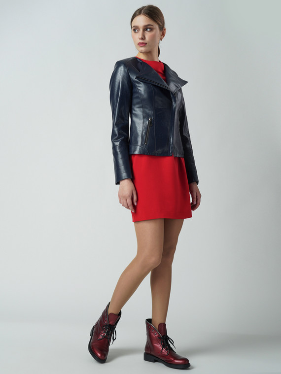 Кожаная куртка эко-кожа 100% П/А, цвет темно-синий, арт. 15005799  - цена 6290 руб.  - магазин TOTOGROUP