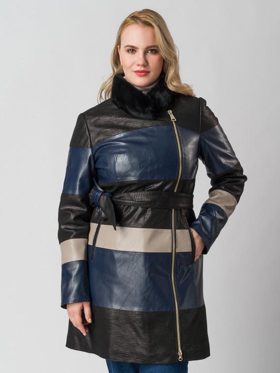 Кожаное пальто эко кожа 100% П/А, цвет синий, арт. 15005802  - цена 7490 руб.  - магазин TOTOGROUP