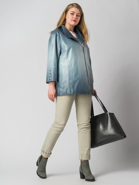 Кожаная куртка эко кожа 100% П/А, цвет голубой, арт. 15005891  - цена 5590 руб.  - магазин TOTOGROUP