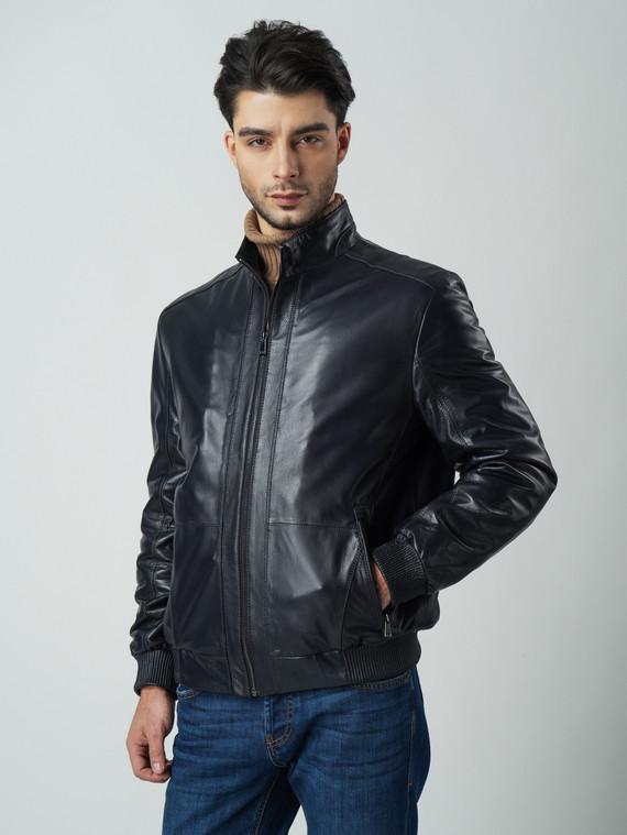 Кожаная куртка кожа , цвет темно-синий, арт. 15005922  - цена 13390 руб.  - магазин TOTOGROUP