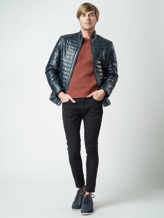 Кожаная куртка кожа баран, цвет синий, арт. 15005951  - цена 12690 руб.  - магазин TOTOGROUP