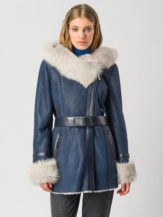 Дубленка дуб. овчина, цвет синий, арт. 15006112  - цена 31990 руб.  - магазин TOTOGROUP