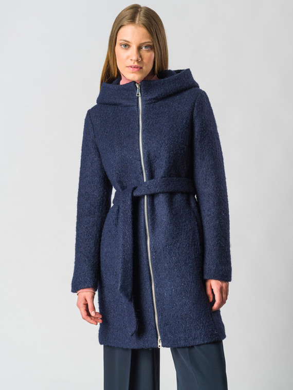 Текстильное пальто 30%шерсть, 70% п\а, цвет синий, арт. 15006604  - цена 7490 руб.  - магазин TOTOGROUP