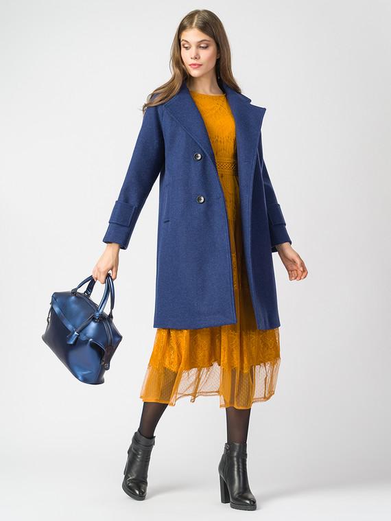 Текстильное пальто 30%шерсть, 70% п.э, цвет синий, арт. 15006819  - цена 7490 руб.  - магазин TOTOGROUP