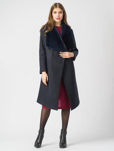 Текстильное пальто 30%шерсть, 70% п.э, цвет синий, арт. 15006822  - цена 7490 руб.  - магазин TOTOGROUP