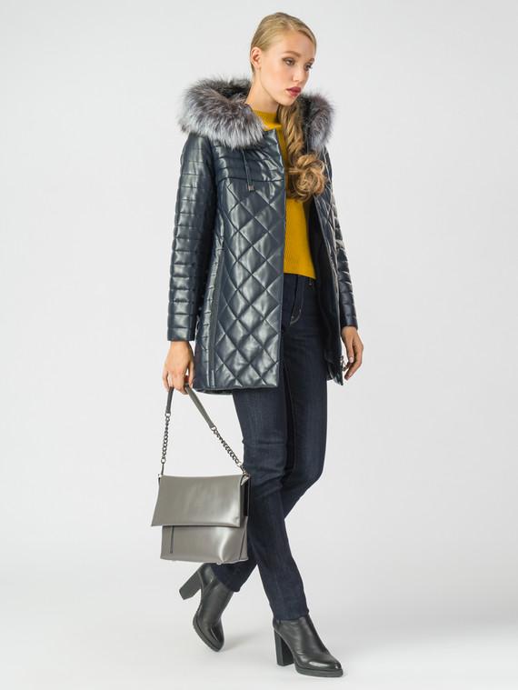 Кожаное пальто эко-кожа 100% П/А, цвет темно-синий, арт. 15006838  - цена 10590 руб.  - магазин TOTOGROUP