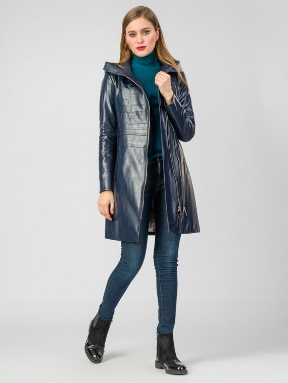 Кожаное пальто эко-кожа 100% П/А, цвет синий, арт. 15007125  - цена 5290 руб.  - магазин TOTOGROUP