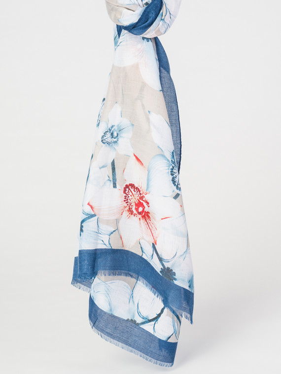 Шарф 30%бамбук,70%хлопок, цвет синий, арт. 15007675  - цена 940 руб.  - магазин TOTOGROUP