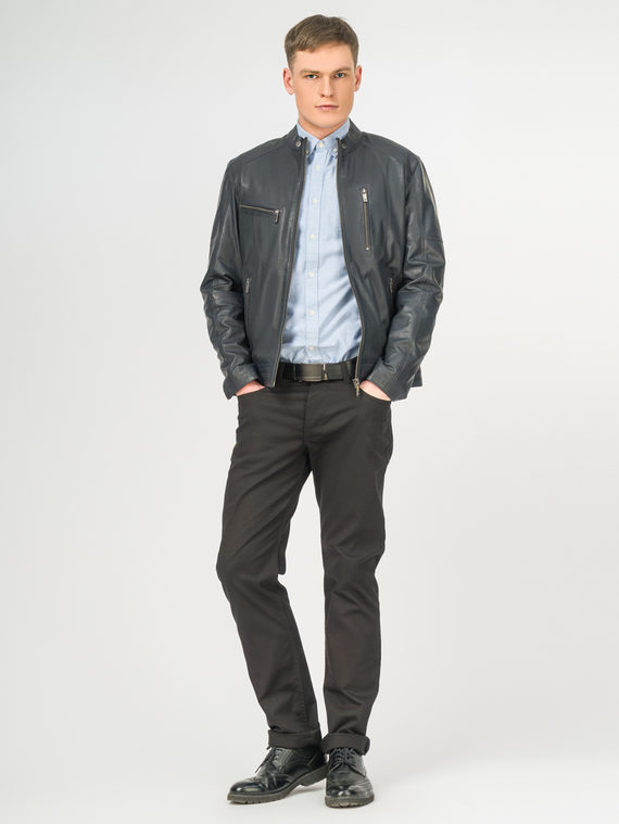 Кожаная куртка кожа , цвет темно-синий, арт. 15106168  - цена 11290 руб.  - магазин TOTOGROUP
