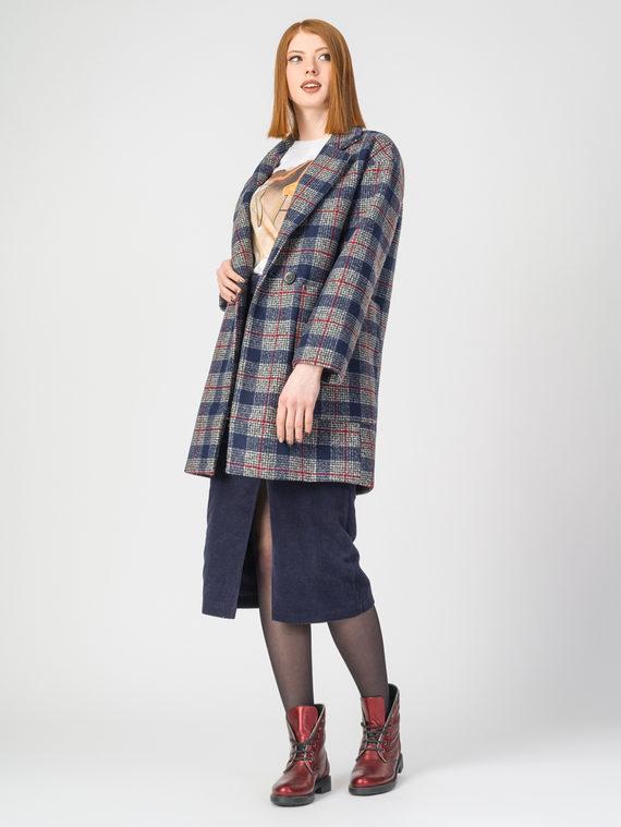 Текстильное пальто 30%шерсть, 70% п.э, цвет синий, арт. 15107916  - цена 4740 руб.  - магазин TOTOGROUP