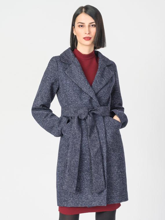 Текстильное пальто 30%шерсть, 70% п.э, цвет темно-синий, арт. 15108194  - цена 3790 руб.  - магазин TOTOGROUP