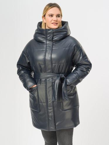 Кожаное пальто эко-кожа 100% П/А, цвет синий, арт. 15109157  - цена 2990 руб.  - магазин TOTOGROUP