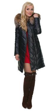 Кожаное пальто артикул 15602183/42 - фото 5