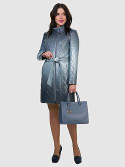 Кожаное пальто эко кожа 100% П/А, цвет синий, арт. 15700123  - цена 7990 руб.  - магазин TOTOGROUP