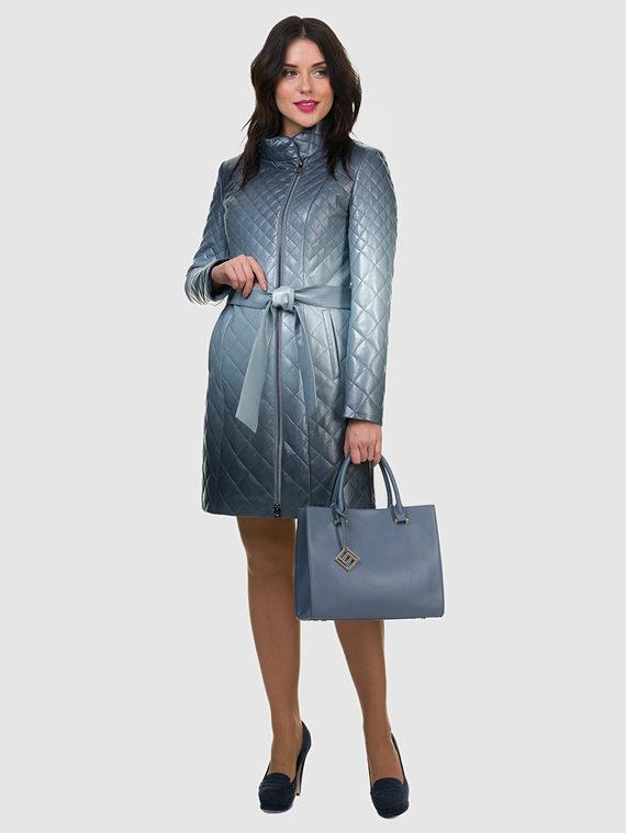 Кожаное пальто эко кожа 100% П/А, цвет синий, арт. 15700123  - цена 5590 руб.  - магазин TOTOGROUP