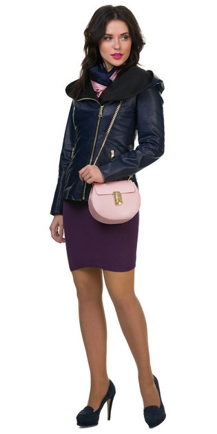 Кожаная куртка эко кожа 100% П/А, цвет синий, арт. 15700125  - цена 7990 руб.  - магазин TOTOGROUP