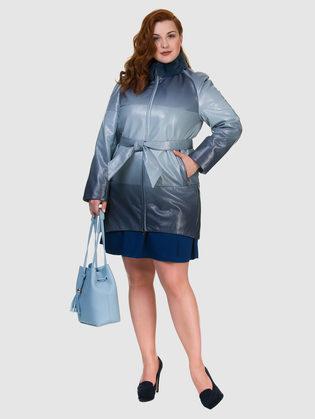 Кожаное пальто эко кожа 100% П/А, цвет синий, арт. 15700133  - цена 8990 руб.  - магазин TOTOGROUP