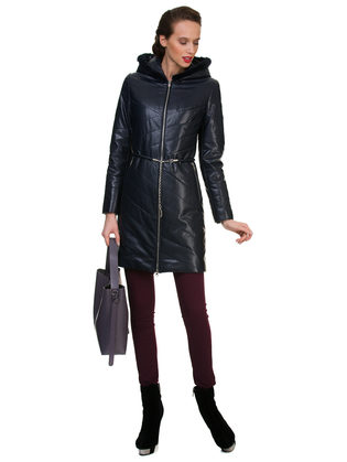 Кожаное пальто эко кожа 100% П/А, цвет темно-синий, арт. 15700150  - цена 6990 руб.  - магазин TOTOGROUP