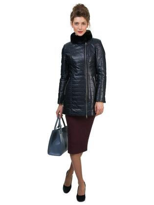 Кожаная куртка эко кожа 100% П/А, цвет темно-синий, арт. 15700155  - цена 9990 руб.  - магазин TOTOGROUP