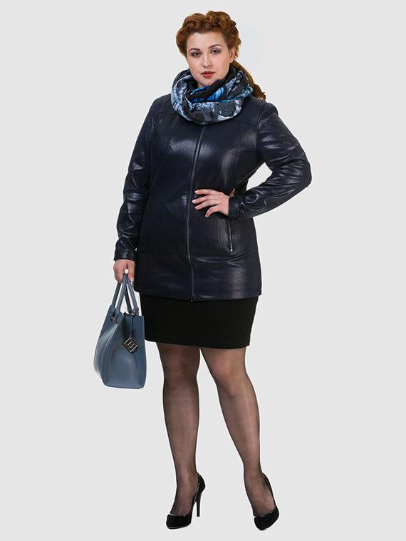 Кожаная куртка эко кожа 100% П/А, цвет темно-синий, арт. 15700169  - цена 6630 руб.  - магазин TOTOGROUP