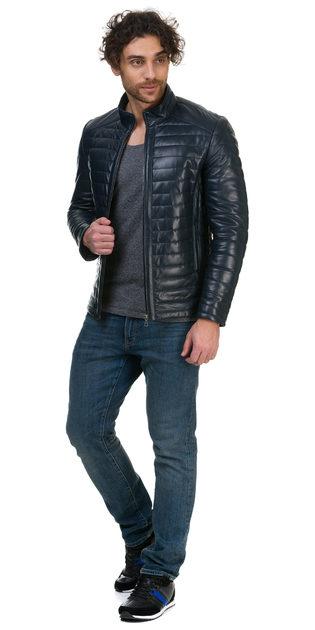 Кожаная куртка кожа овца, цвет темно-синий, арт. 15700416  - цена 17490 руб.  - магазин TOTOGROUP