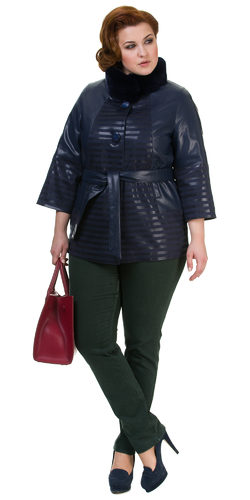 Кожаная куртка эко кожа 100% П/А, цвет темно-синий, арт. 15700436  - цена 6990 руб.  - магазин TOTOGROUP