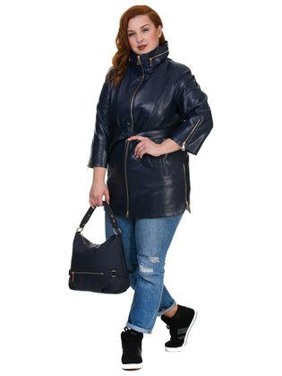 Кожаное пальто эко кожа 100% П/А, цвет синий, арт. 15700455  - цена 4990 руб.  - магазин TOTOGROUP