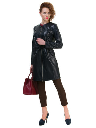 Кожаное пальто эко кожа 100% П/А, цвет темно-синий, арт. 15700486  - цена 6630 руб.  - магазин TOTOGROUP