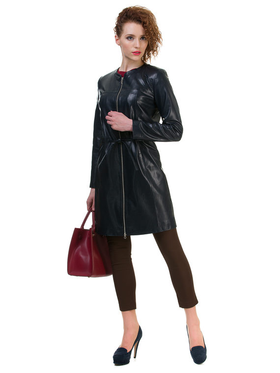 Кожаное пальто эко кожа 100% П/А, цвет темно-синий, арт. 15700486  - цена 5890 руб.  - магазин TOTOGROUP