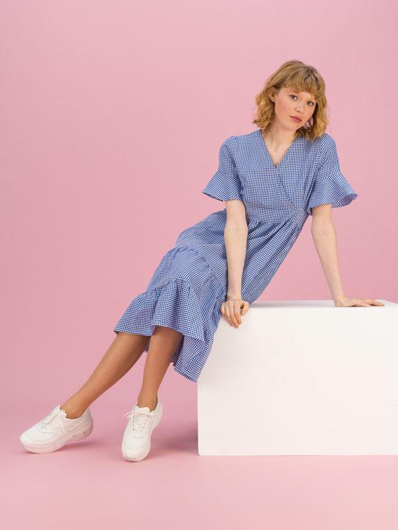Женское платье 80% хлопок, 20% п\э, цвет синий, арт. 15711689  - цена 990 руб.  - магазин TOTOGROUP