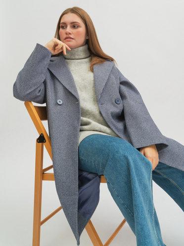 Текстильное пальто 40% шерсть, 30% вискоза, 30% полиамид, цвет синий, арт. 15719961  - цена 5890 руб.  - магазин TOTOGROUP