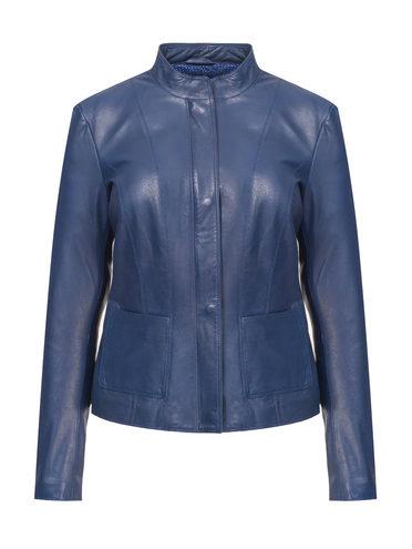 Кожаная куртка кожа, цвет синий, арт. 15802480  - цена 9490 руб.  - магазин TOTOGROUP