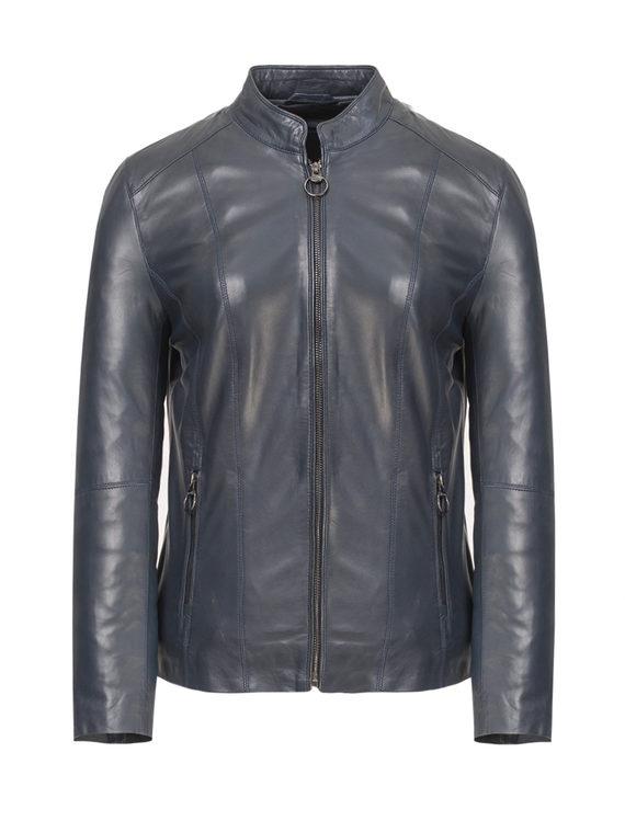 Кожаная куртка кожа, цвет синий, арт. 15809205  - цена 12690 руб.  - магазин TOTOGROUP