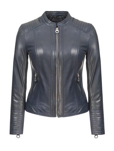Кожаная куртка кожа, цвет синий, арт. 15809206  - цена 13390 руб.  - магазин TOTOGROUP