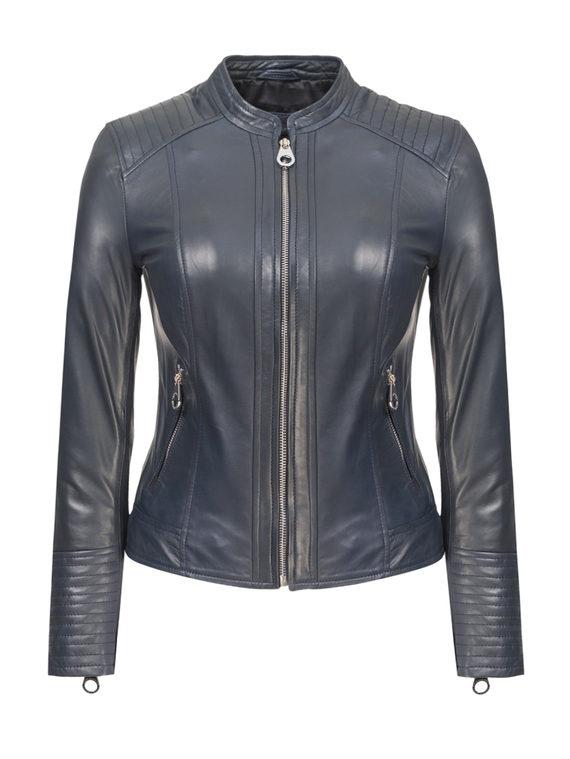 Кожаная куртка кожа, цвет синий, арт. 15809206  - цена 11990 руб.  - магазин TOTOGROUP