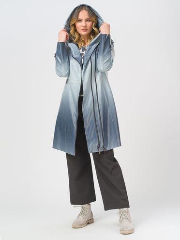 Кожаное пальто эко-кожа 100% П/А, цвет синий, арт. 15810027  - цена 6990 руб.  - магазин TOTOGROUP
